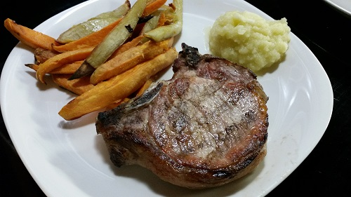 AIP Pork chop with sweet potato fries recipe
