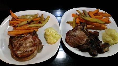 BBQ Pork chop with applesauce and sweet potato fries