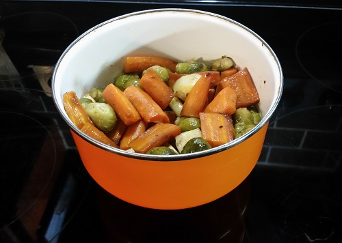 carrots, parsnip and Brussels sprouts side dish